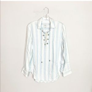 NWT Rails Anthro blue & white striped lace up top